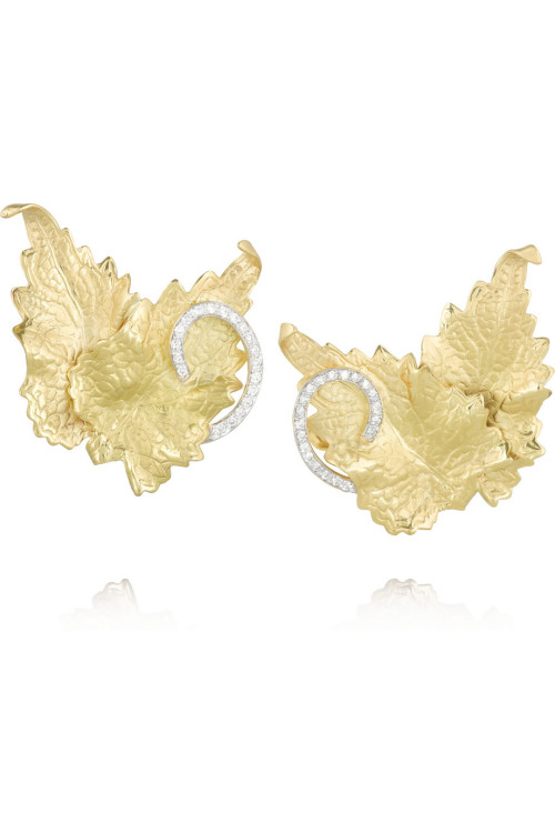 Ana Khouri - Leaf 18-karat gold diamond earrings: $13,500