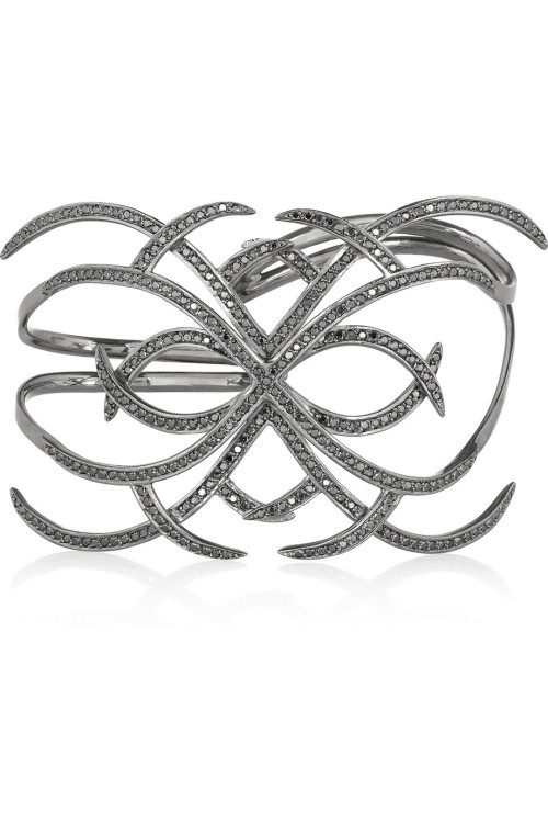 Ana Khouri - Arachnid 18-karat blackened gold diamond handcuff: $30,600