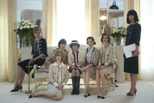 Geraldine Chaplin and cast in Fifties attire
