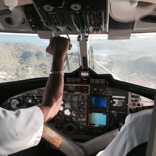 Landing at St Barth Airport in a Twin Otter