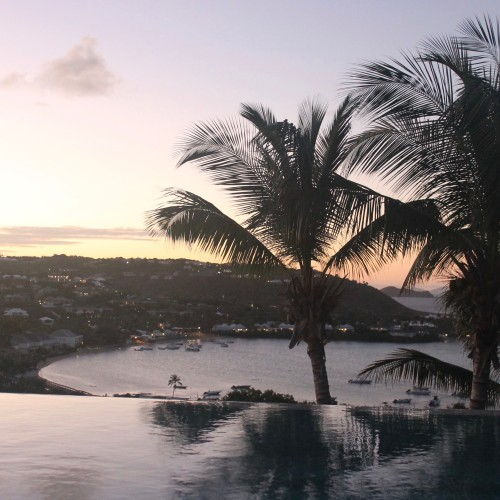 St. Barth, a sunset view from our villa across the bay Grand Cul de Sac