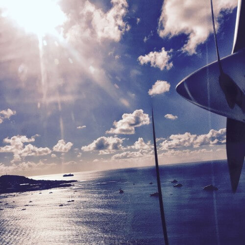 View from our WinAir plane arriving at St. Barth