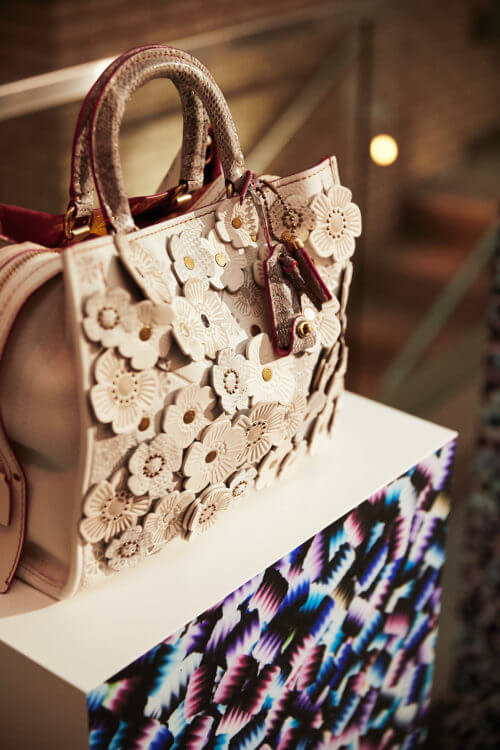 Coach handbag showcased with Arthur Pena print