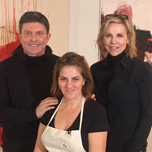 Kenny Goss, Tracey Emin and Joyce Goss at Emin's Studio