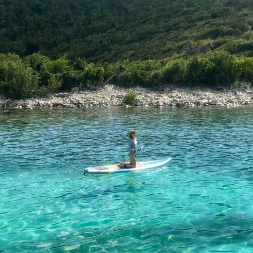 Me, paddle boarding at Salt Pond Bay, St John US Virgin Islands