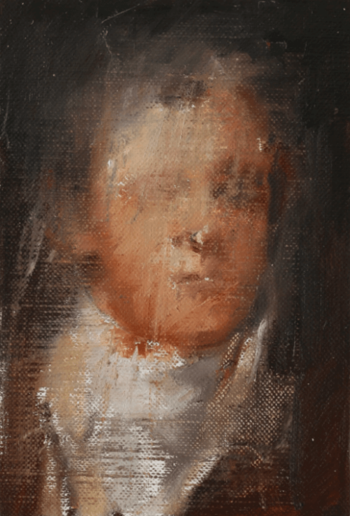Head Study I, 2020, oil on linen, 6 x 4 inches, Jake Wood-Evans