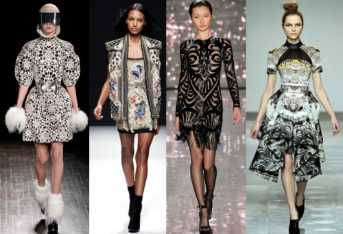 Autumn / Winter 2012, Alexander McQueen, Balmain, Naeem Khan, and Mary Katrantzou.